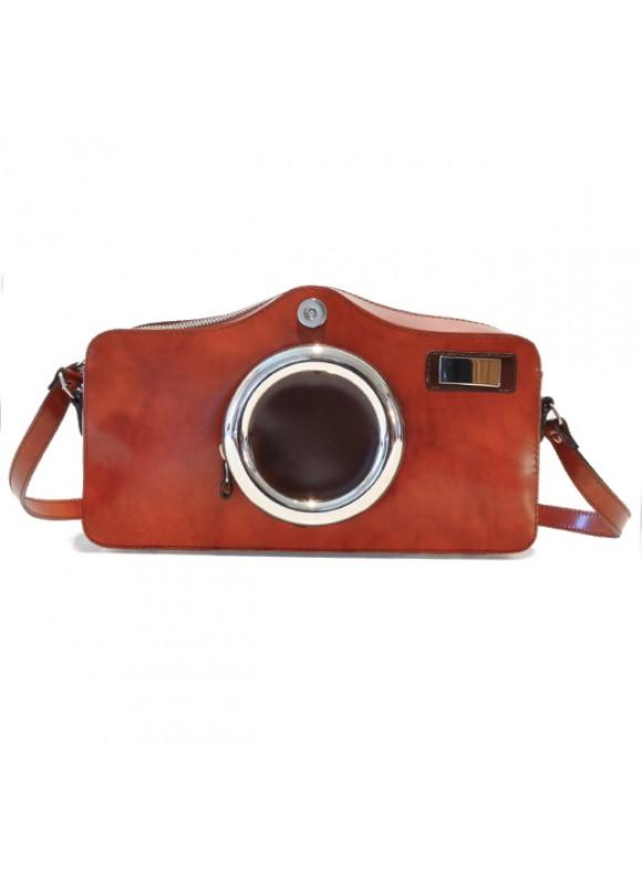 Pratesi Photocamera Radica Shoulder Bag in cow leather - Radica Brown