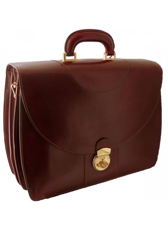 Pratesi Michelangelo PC Briefcase in cow leather - Radica Chianti