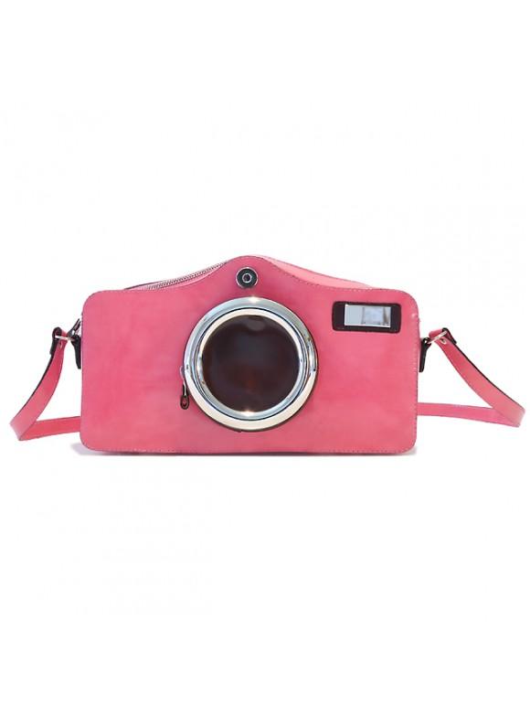 Pratesi Photocamera Radica Shoulder Bag in cow leather - Radica Pink