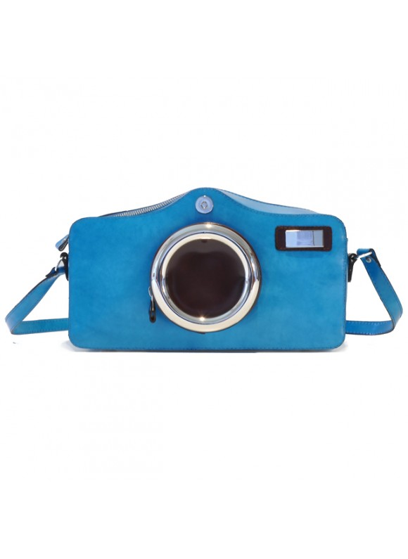 Pratesi Photocamera Radica Shoulder Bag in cow leather - Redica Sky-Blue