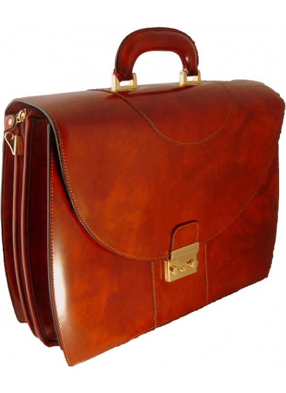 Pratesi Michelangelo PC Briefcase in cow leather - Radica Brown