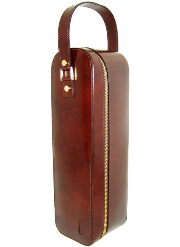 Pratesi Bacco Wine Case in cow leather - Radica Coffee