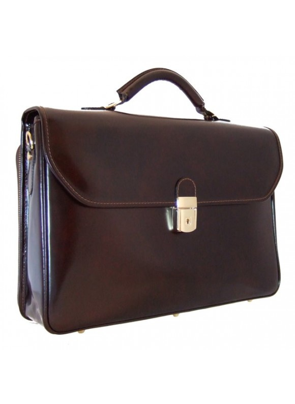 Pratesi Piccolomini Briefcase in cow leather - Radica Coffee