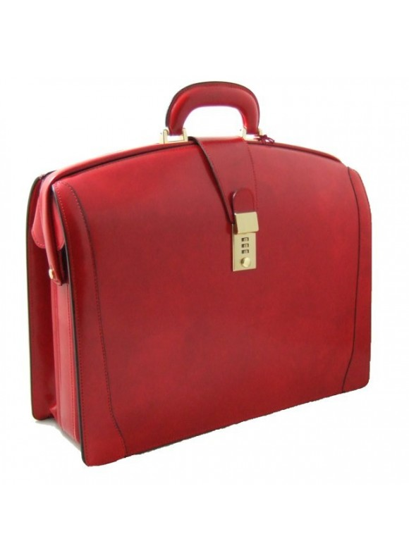 Pratesi Brunelleschi Big Briefcase for Laptop in cow leather - Radica Cherry