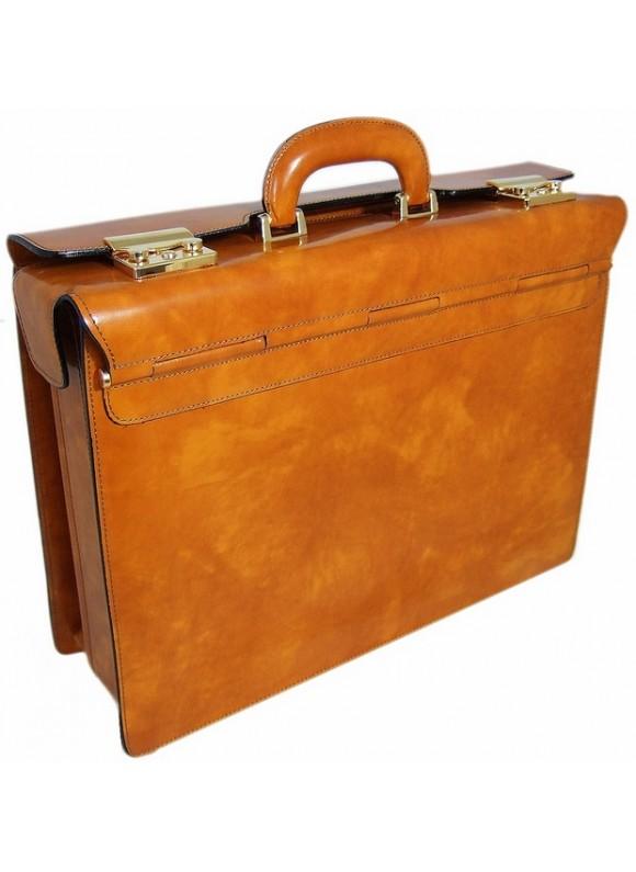 Pratesi Lorenzo il Magnifico Pilot Case in cow leather - Radica Mustard
