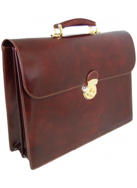 Pratesi Donatello Radica Briefcase in cow leather - Radica Coffee