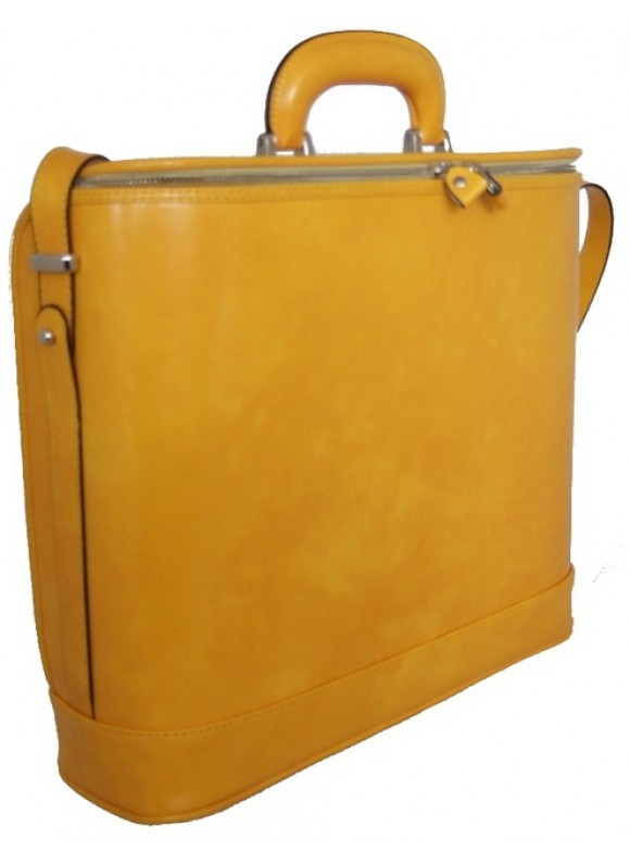Pratesi Raffaello Laptop Bag 17 in cow leather - Radica Yellow