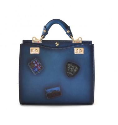 'Pratesi Lady Bag Anna Maria Luisa de'' Medici Medium in cow leather - Bruce Blue'