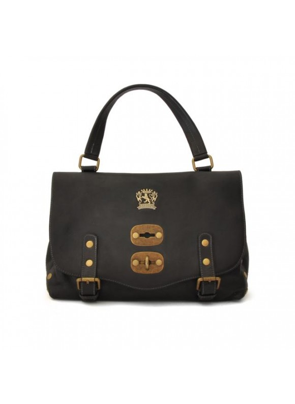 'Pratesi Woman Bag Castell''Azzara Small in cow leather - Bruce Black'