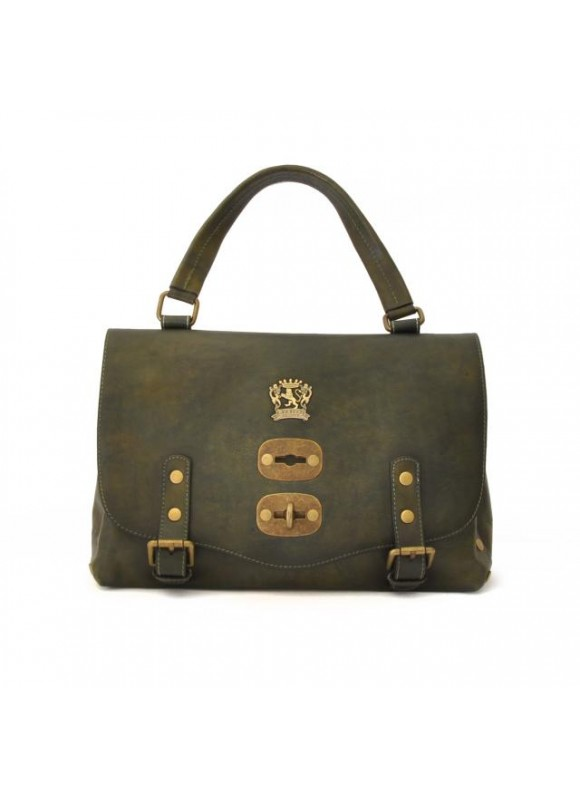 'Pratesi Woman Bag Castell''Azzara Small in cow leather - Bruce Dark Green'