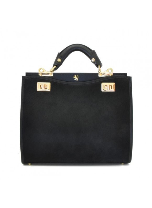 'Pratesi Anna Maria Luisa de'' Medici Medium Cavallino Lady Bag in real leather - Cavallino Black'