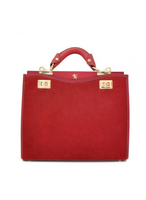 'Pratesi Anna Maria Luisa de'' Medici Medium Cavallino Lady Bag in real leather - Cavallino Cherry'
