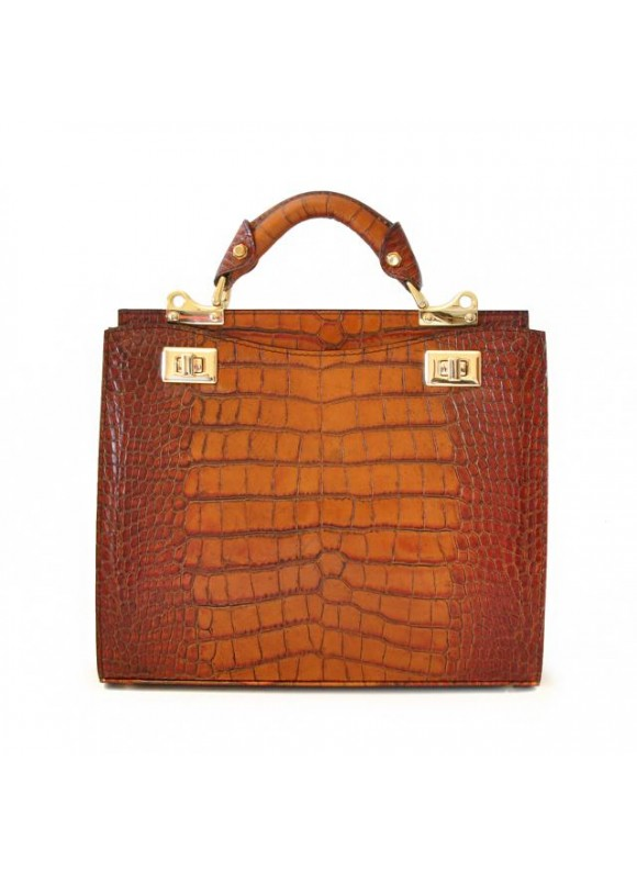 'Pratesi Anna Maria Luisa de'' Medici Medium King Lady Bag in cow leather - King Cognac'