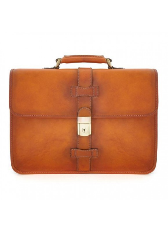 Pratesi Briefcase Anghiari in cow leather - Bruce Cognac