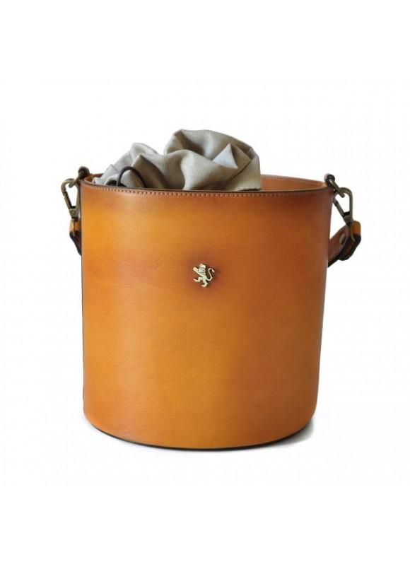 Pratesi Cross-Body Bag Secchiello in cow leather - Bruce Cognac