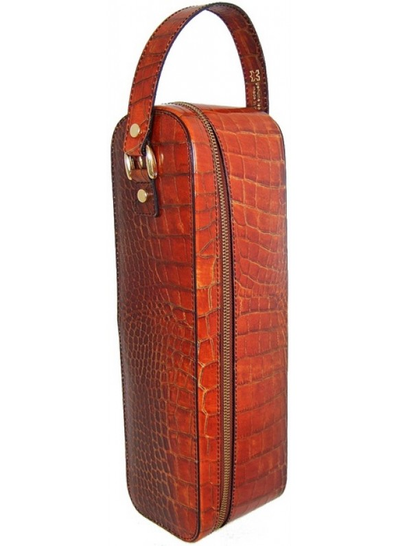 Pratesi Bacco King Wine Case in cow leather - King Cognac