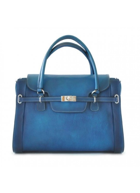 Pratesi Handbag Baratti in cow leather - Bruce Blue