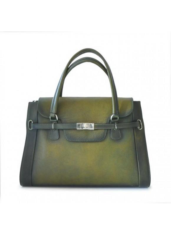 Pratesi Handbag Baratti in cow leather - Bruce Dark Green