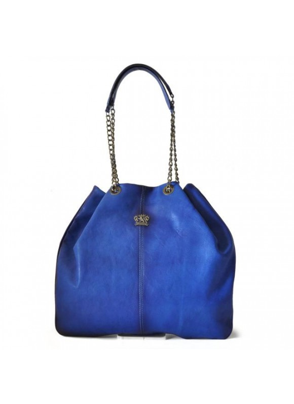 Pratesi Shoulder Bag Barga in cow leather - Bruce Electric Blue