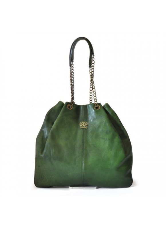 Pratesi Shoulder Bag Barga in cow leather - Bruce Emerald