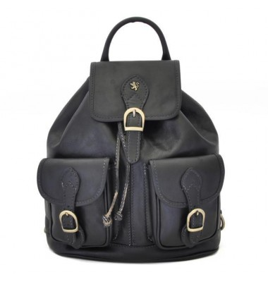 Pratesi Backpack Caporalino in cow leather - Bruce Black