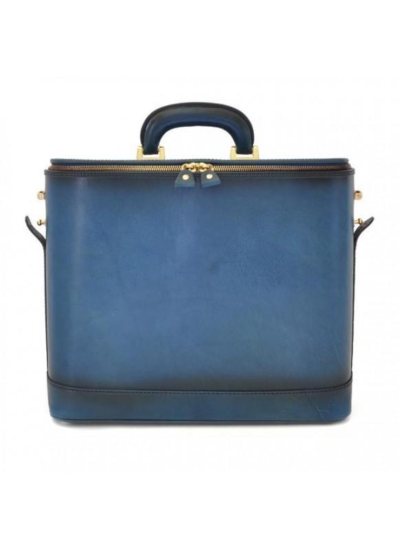 Pratesi Raffaello Santa Croce PC Case 15 pollici in real leather - Santa Croce Blue