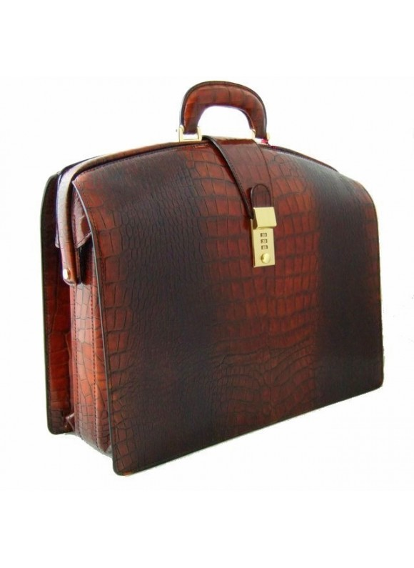 Pratesi Brunelleschi Bold King Briefcase for Laptop in cow leather - King Brown
