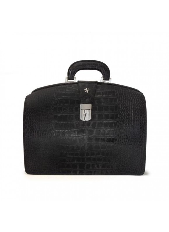 Pratesi Brunelleschi Small King Briefcase in cow leather - King Black