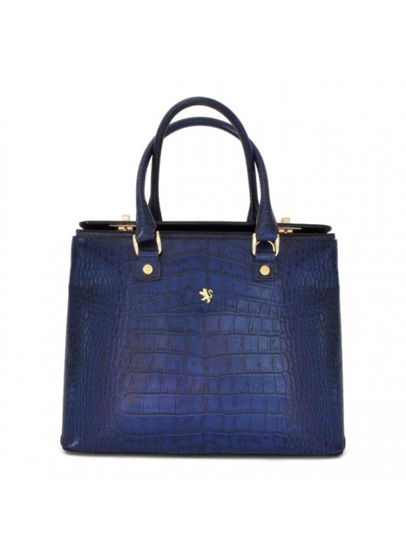 Pratesi Bronzino King Lady Bag in cow leather - King Blue