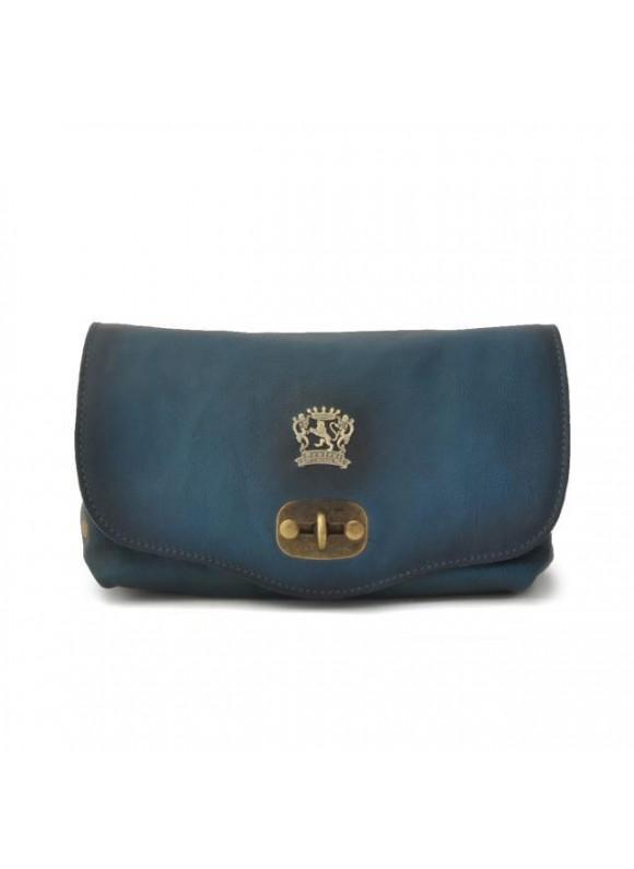 Pratesi Castel Del Piano Clutche in cow leather - Bruce Blue