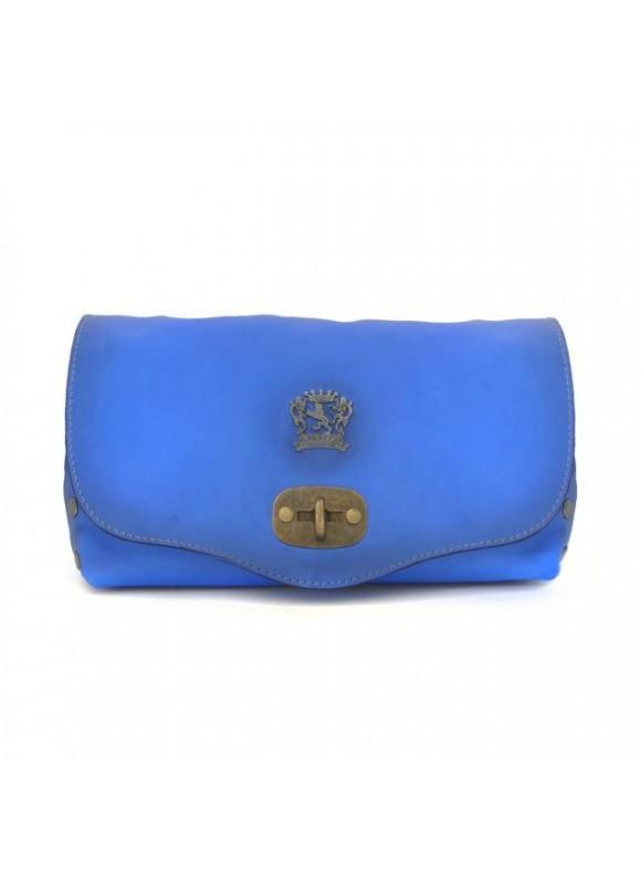Pratesi Castel Del Piano Clutche in cow leather - Bruce Electric Blue
