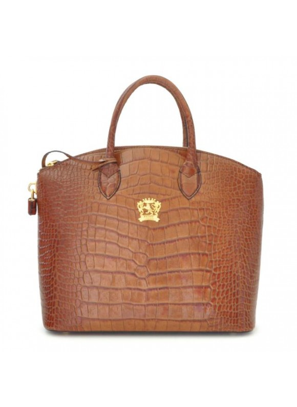 Pratesi Versilia Big King Woman Bag in cow leather - King Cognac