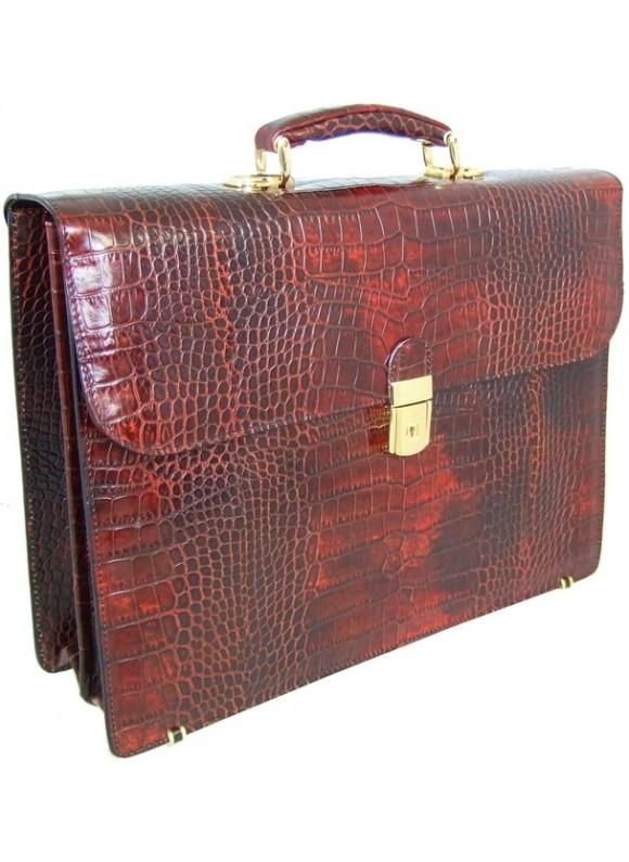 Pratesi Donatello King Briefcase in cow leather - King Brown
