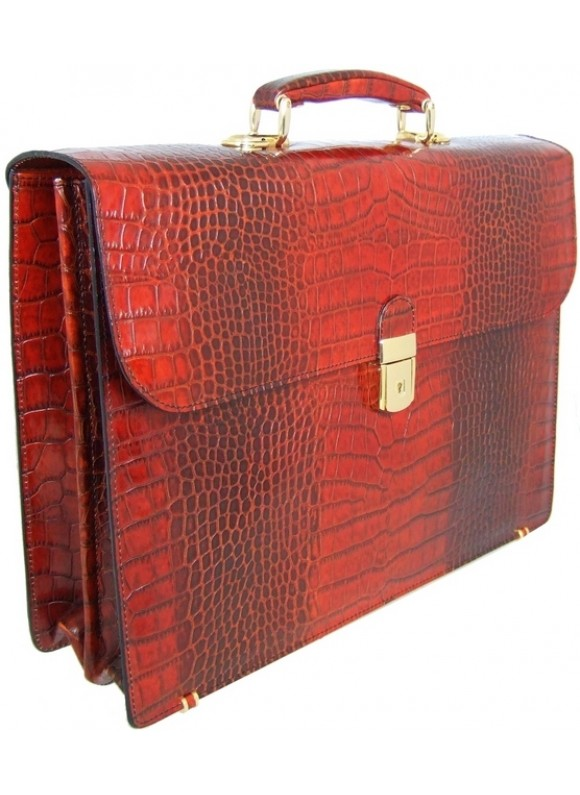 Pratesi Donatello King Briefcase in cow leather - King Cognac