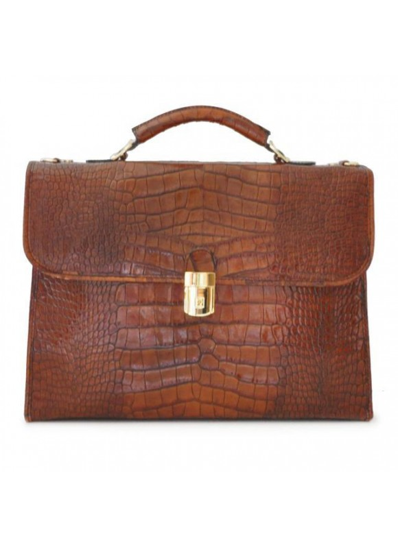 Pratesi Da Verrazzano King Briefcase for Laptop in cow leather - King Cognac