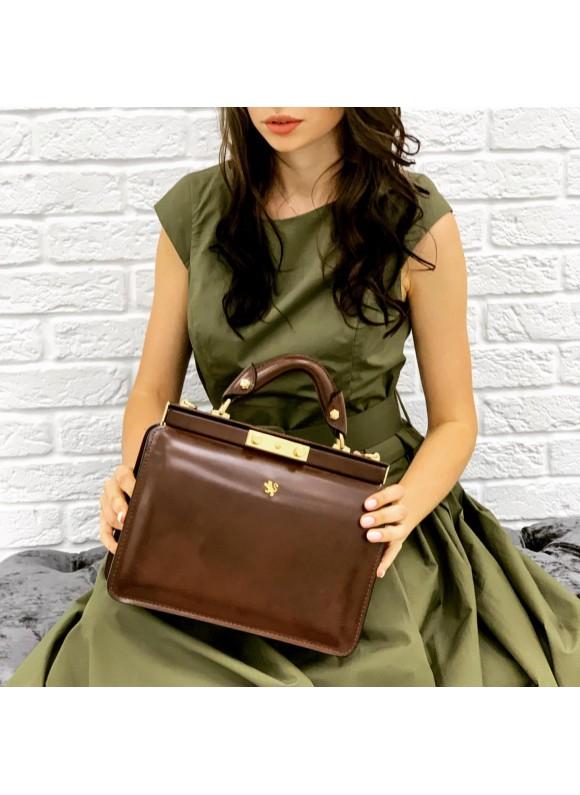 Pratesi Vittoria Colonna Lady Bag in cow leather - Radica Coffee