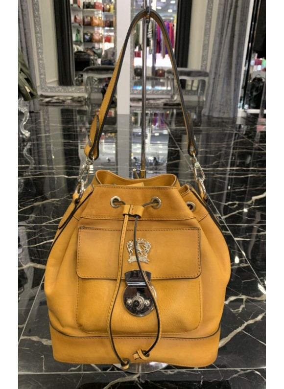Pratesi Handbag Montaione Bruce in cow leather - Bruce Mustard