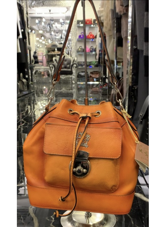 Pratesi Handbag Montaione Bruce in cow leather - Bruce Orange