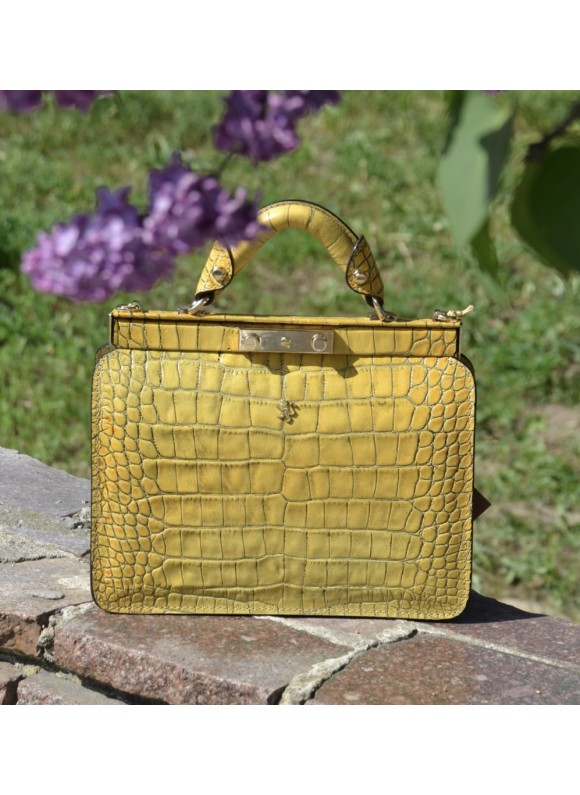 Pratesi Vittoria Colonna King Woman Bag in real leather - King Mustard