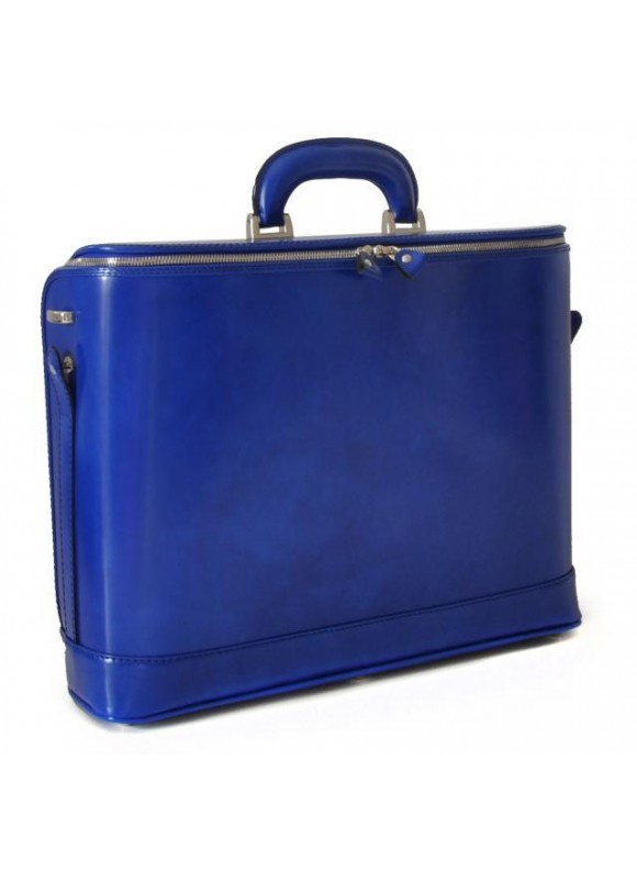 Pratesi Raffaello Laptop Bag 17 in cow leather - Radica Electric Blue