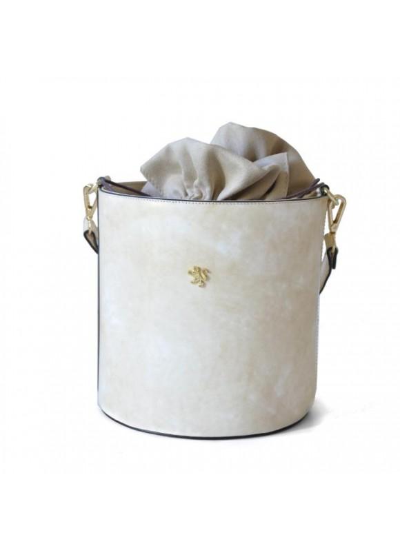Pratesi Cross-Body Bag Secchiello in cow leather - Radica Panna
