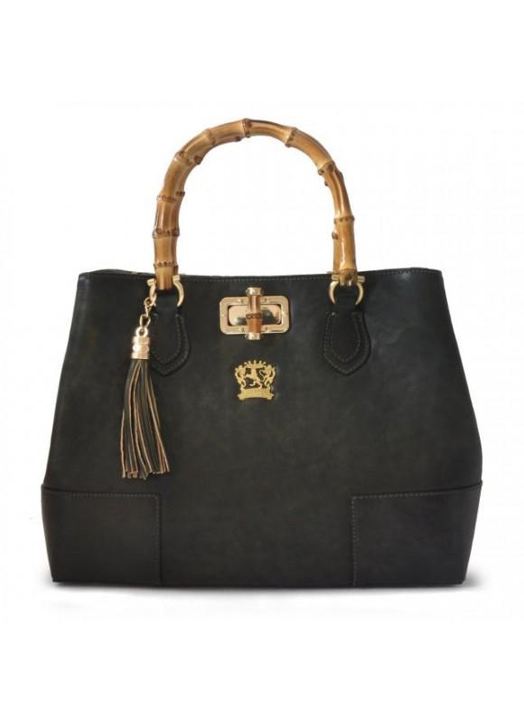 Pratesi Sarteano Shoulder Bag in cow leather - Bruce Dark Green