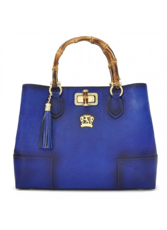 Pratesi Sarteano Shoulder Bag in cow leather - Bruce Electric Blue