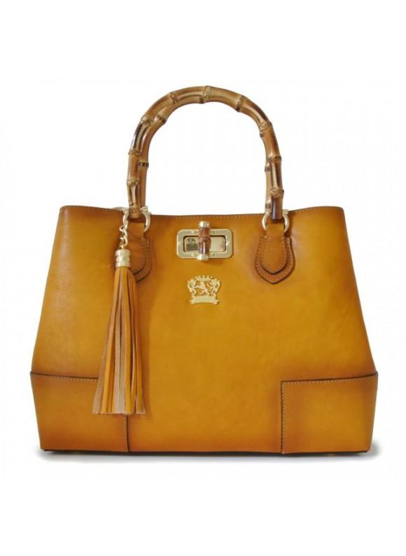 Pratesi Sarteano Shoulder Bag in cow leather - Bruce Mustard