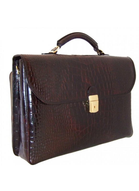 Pratesi Piccolomini King Briefcase in cow leather - King Brown