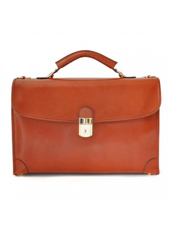 Pratesi Leccio Radica Briefcase in cow leather - Radica Brown