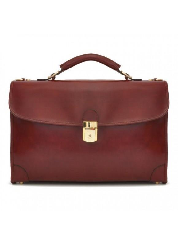 Pratesi Leccio Radica Briefcase in cow leather - Radica Chianti