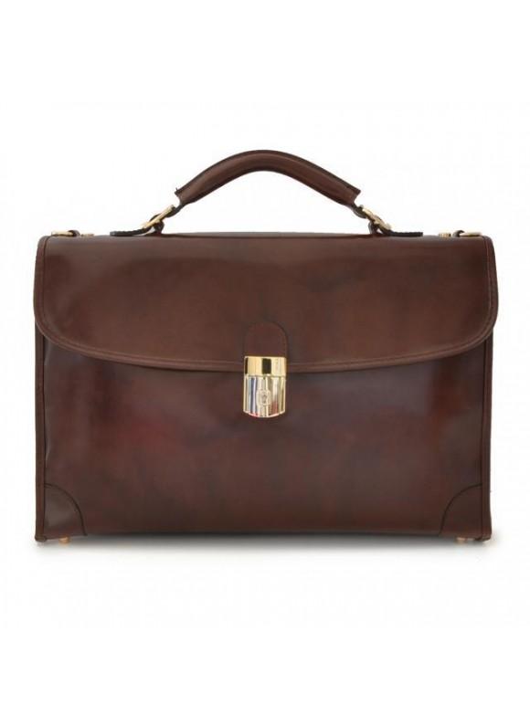 Pratesi Leccio Radica Briefcase in cow leather - Radica Coffee