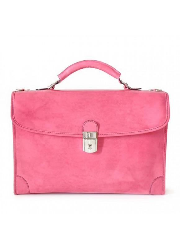 Pratesi Leccio Radica Briefcase in cow leather - Radica Pink