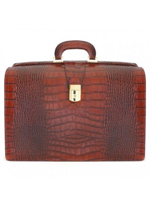 Pratesi Leonardo King Briefcase in cow leather - King Brown